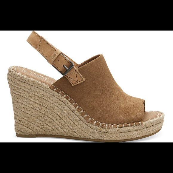 Toms Shoes - TOMS Toffee Suede Women's Monica Wedges